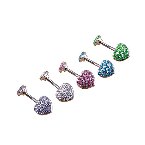 Surker 5pcs 316l Stainless Steel Navel Ring Nose Stud Belly Dancer Double Hearts (Belly Dancer For Party)
