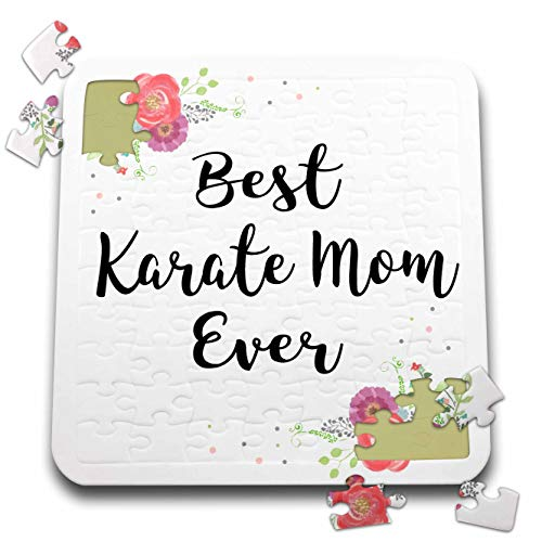 3dRose InspirationzStore - Love Series - Floral Best Karate Mom Ever with Arty Pretty Watercolor Pink Flowers - 10x10 Inch Puzzle (pzl_311987_2)