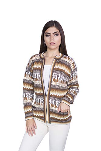 Raymis Peruvian Women´s Beige Hand Knit Alpaca Llama Zip Front Cardigan Sweater (Small)