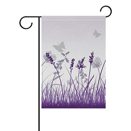 Thomas Eugene Happy-Halloween House Violet Gray Butterfly Garden Flag Vertical Double-Sided Printed Polyester(12 x 18 in & 28 x 40 in) ()