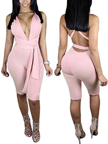 [Queen.M Womens Sexy Deep V Neck Sleeveless Strappy Halter Backless Bodycon Clubwear Jumpsuit Rompers] (Sexy Jumpsuits For Women)