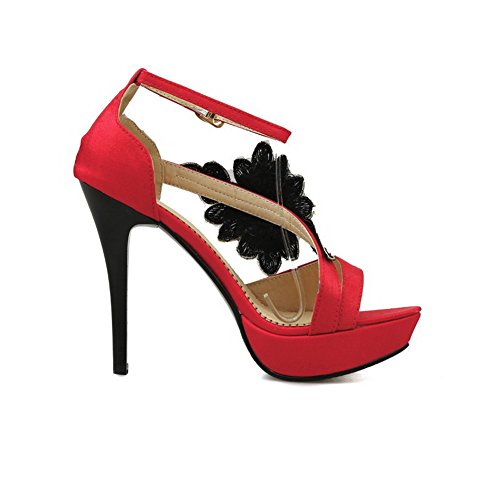 VogueZone009 Women's Soft Material Peep Toe Buckle High-Heels Solid Sandals Red IxW5TCX