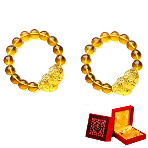 SMART DK 2-Pack Feng Shui Citrine Wealth Porsperity 12mm Bracelet with Pi Xiu/Pi Yao, Attract Wealth and Good Luck, Gift Box Included