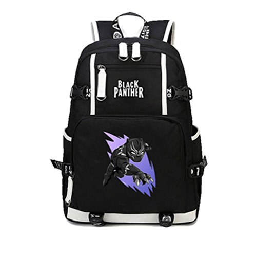 School Panthers Accessories - xcoser Hot New Arrival Black Panther T'Challa Backpack Canvas Shoulders Large School Travel Outdoor Bag Cosplay Accessory D