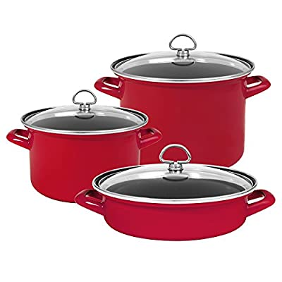 Chantal 6-Piece Enamel-on Steel Cookware Set-Chili Red
