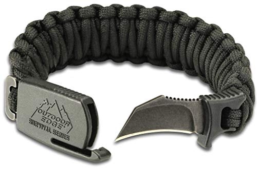 Outdoor Edge ParaClaw Black Large, PCK-90C, Paracord Survival Bracelet with 1.5 Inch Knife Blade, Black, Large Size