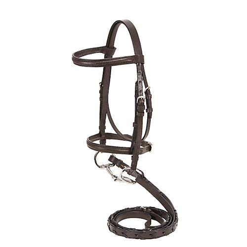 Tough-1 Mini Raised Snaffle Bridle with Reins BRN