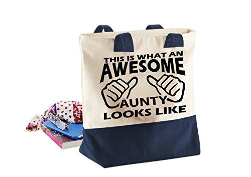 Awesome Aunty-Damen Lustige Sprüche Neuheit Bagbase Westcove Leinwand-Taschen Shopper-Tasche- Natural / Navy KHps8daFs