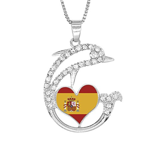 H-Beufun Jumping Dolphin Love Heart Pendant Necklace Spanish Flag 3D Printed Jewelry