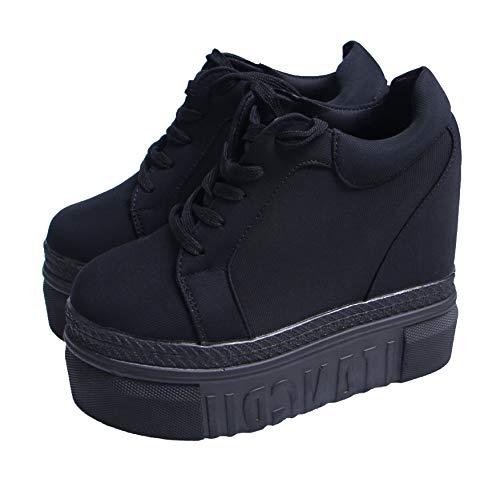 ACE SHOCK Women Fashion Platform Sneakers Wide Width High Hidden Heel Wedge Walking Shoes (8, Without Flower Black)