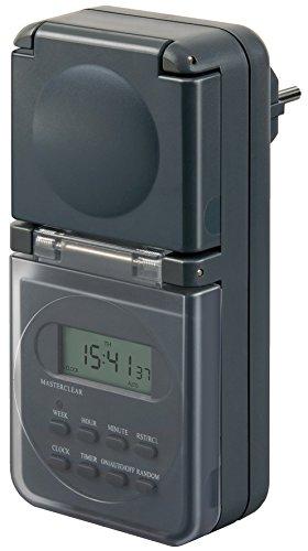 Brennenstuhl Digitale Wochenzeitschaltuhr IP44 digitale Timer-Steckdose (Wochen-Zeitschaltuhr, fü r Auß enbereich und Kindersicherung) anthrazit 1506706