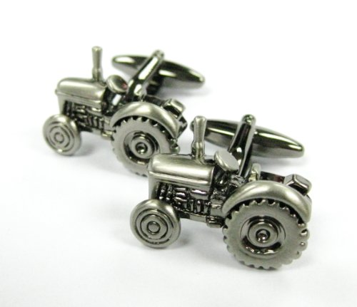 Tailor B Gun Metal Tractor Cufflinks Car Automotive Cuff Links Farmer's - Tractor Tailor