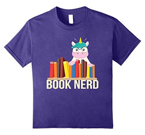 Kids Book Nerd Unicorn with Glasses Cute Funny Geek T-Shirt 10 Purple (Unicorn Merchandise)