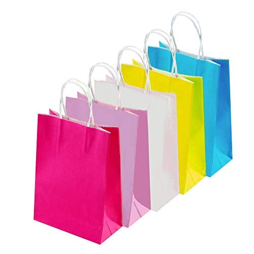 INTVN Paper Gift Bags - 25 Pcs Gift Paper Bags Grocery Bags Craft Paper Bags - Gift Paper Bags - Easy to Carry Packs of Cookies, Grocery ()