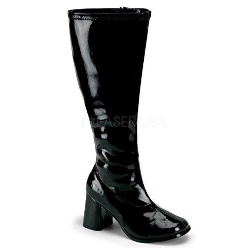 Pleaser Women's Gogo-300x/b, Black Stripe Patent 12 W -