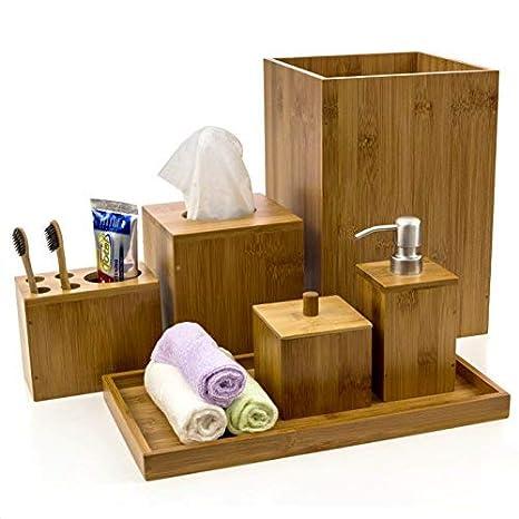 Amazon.com: Colección de accesorios de baño de bambú Intriom ...