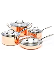 ExcelSteel 546 Professional 8-Piece Triply Cookware Set with Stainless Steel Cast Handles and Knobs, Copper