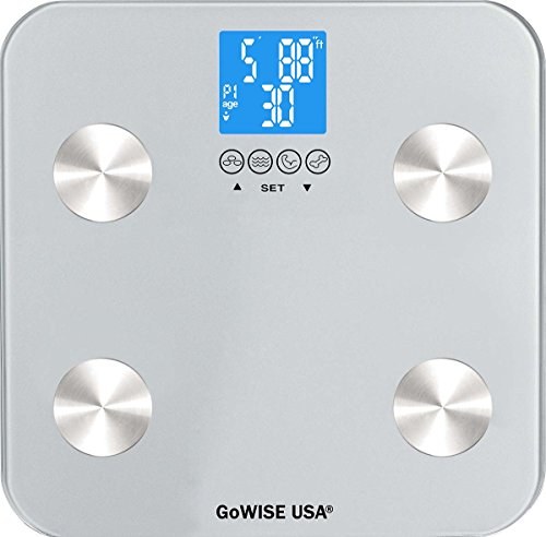 GoWISE USA Digital Body Fat Scale - FDA Approved - Measures Weight, Body Fat, Water & Bone Mass, 400 lbs Capacity, Tempered Glass (Silver) ()