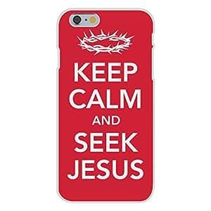 Apple iphone 6 plusd 5.5 Custom Case White Plastic Snap On - Keep Calm and Seek Jesus Crown of Thorns