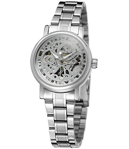 Wristwatch Women' Roman Number Silver Tone Self-Wind Auto Mechanical Watch -
