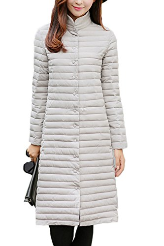 Elegantes manga larga lana Maxi abrigo abrigos de las mujeres Grey