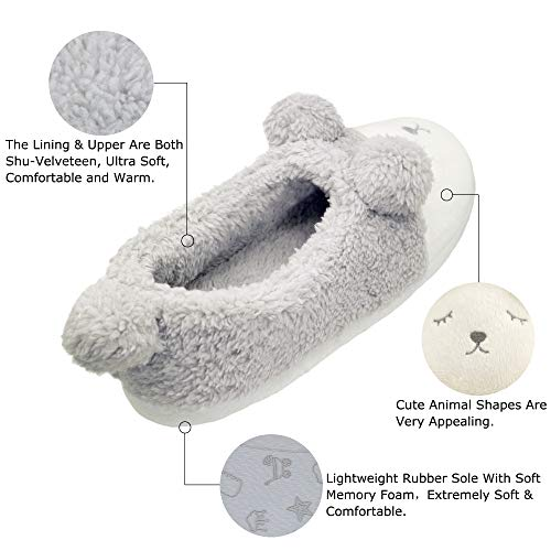 Grey Shoes Sole 1 Cute Soft Cozy House Plush Fleece bestfur Women's Slippers Home O4qwPP