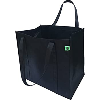 Reusable Grocery Bags (5 Pack, Black) - Hold 40+ lbs - Extra Large & Super Strong, Heavy Duty Shopping Bags – Grocery Tote Bag with Reinforced Handles & Thick Plastic Bottom for Strength