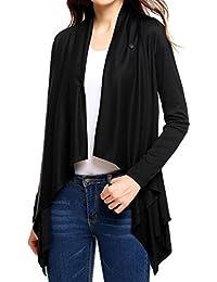 Women's Drape Open Front Long Sleeves One Button Flare Hem Fleece Wrap Knit Cardigan