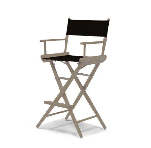 Telescope Casual World Famous Bar Height Director Chair, Rustic Grey with Black Canvas Fabric - Dining Height Director Chair