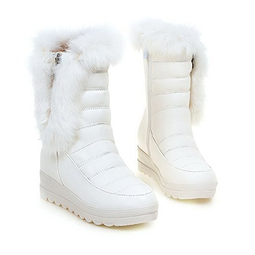 Allhqfashion Mujeres Solid Kitten-heels Cerrado Round Toe Pu Cremallera Botas Blanco