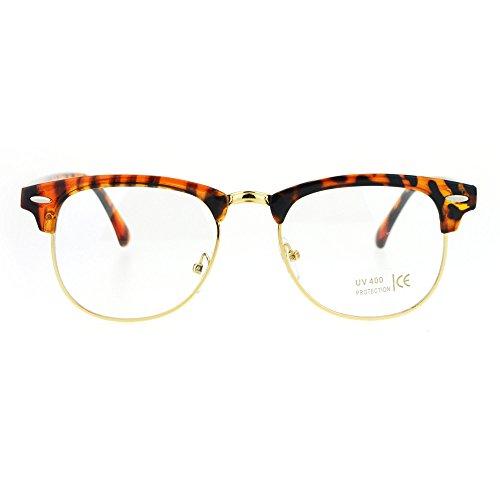 Classic Mens Half Rim Hipster Horn Rim Eye Glasses Tortoise Gold