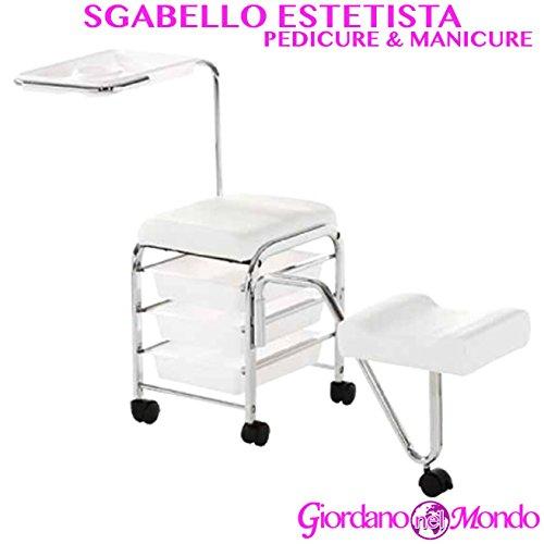 CARRELLO MANICURE E PEDICURE CON SGABELLO POGGIAPIEDI ESTRAIBILE 2 IN 1 CON 3 CASSETTI E PROFESSIONALE PER ESTETISTA XANITALIA
