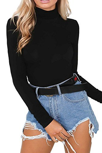 Juniors Turtleneck - Laucote Women's High Neck Jumpsuit Slim Fit Long Sleeve Snap Crotch Romper Black S