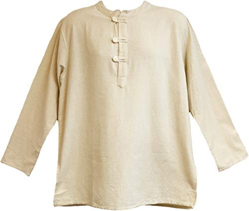 Mens Tunic Muslin Cotton Cream Colored 3-button Loop Closure, Mandarin Collar (Large) -