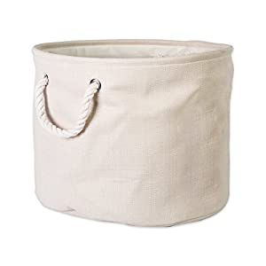 "DII Collapsible Variegated Polyester Storage Basket or Bin with Durable Cotton Handles, Home Organizer Solution for Office, Bedroom, Closet, Toys, & Laundry (Large Round – 16x15""), Cream"