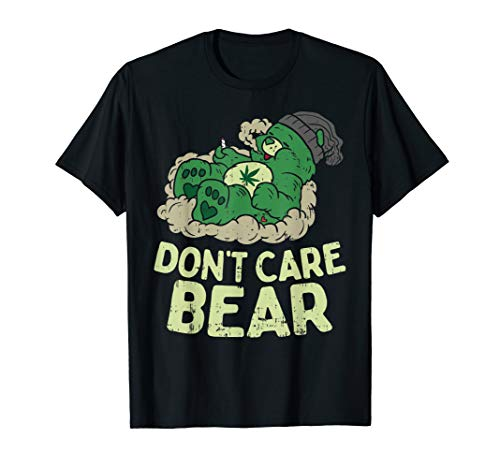 Funny Bear Smoking Weed Cannabis Marijuana 4:20 Stoner Gift T-Shirt (Bong Bear Don T Care T Shirt)