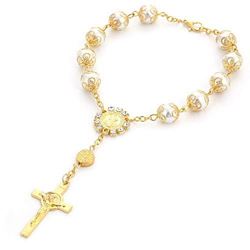 (JLJ Rosary Bracelet Gold Imitation Pearls Catholic Rosary Bracelet)