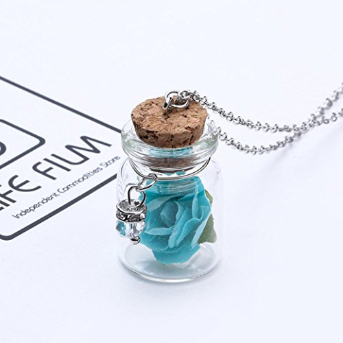 Deals Glow in The Dark Flower Glass Tiny Wishing Bottle Vial Necklace Pendant Chain Necklace Romantic Gift by ZYooh (Blue)