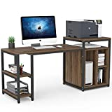 Tribesigns Computer Desk with Storage Shelf, 47 inch Home Office Desk with Printer Stand & 23 inch Bookcase, Writing PC Table with Space Saving Design (Dark Walnut)