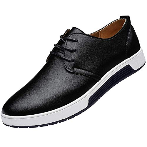 Timyy Men's Casual Oxford Shoes Lace-up Flat Fashion Sneakers Black ()