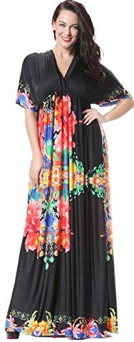 Jusfitsu Women's Boho Long Maxi Dress Bat Sleeve Sundress Plus Size Dresses – 6X Plus, Orange