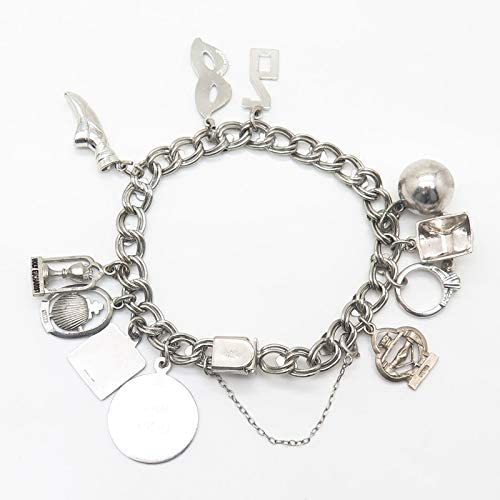 6.5\u201d vintage Sterling silver handmade charm bracelet silver tested 5mm 925 double circle link chain with toggle closure