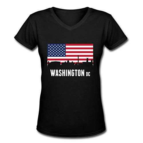 American Flag Washington DC Women's V-Neck Short Sleeve Tee -