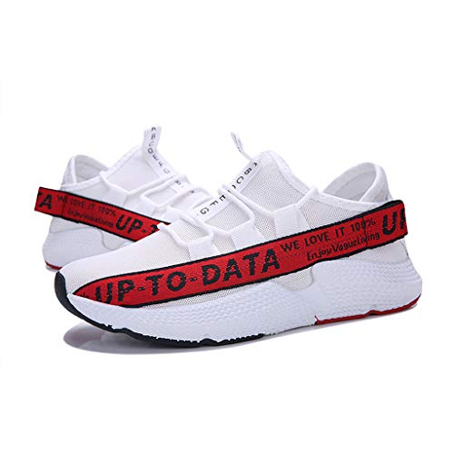 Men's Casual Letter Printing Increased Shoes Wild Fashion Sports Shoes Mesh Breathable Sports Shoes Red by Lloopyting (Image #3)