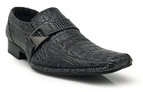Buckle Runs Half on Big Shoes Size Enzo Loafers Fashion Men's Crocodile Elastic Slip with Santcro Print Gray Dress Romeo xw6qP