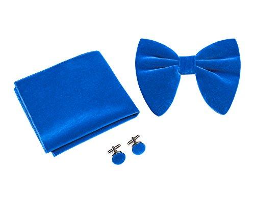 Levao Mens Velvet Bow Tie Vintage Tuxedo Big Bowtie & Cufflinks & Pocket Square Set RB002T-C Royal Blue