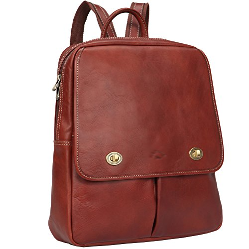 Italian Leather Zippered Travel Bag - Italian Leather Mid Size Flap Over U-Zips School Backpack Color Light Brown
