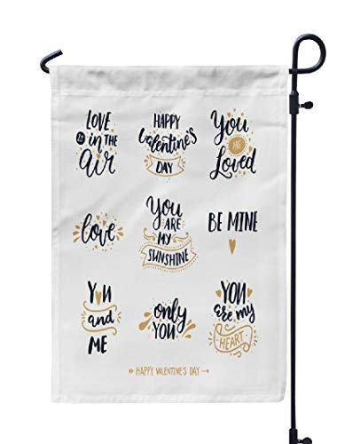 (Kutita Typography Garden Flag 12X18 Inch, Happy Valentines Day Font White Black and Gold Happy Weatheproof Double Sided Decorative Outdoor Flag for Garden)