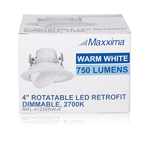 "12 Watt 4""-Inch Rotatable 750 Lumens Maxxima LED Retrofit Downlight Gimbal Warm White 2700k Dimmable, Energy Star"