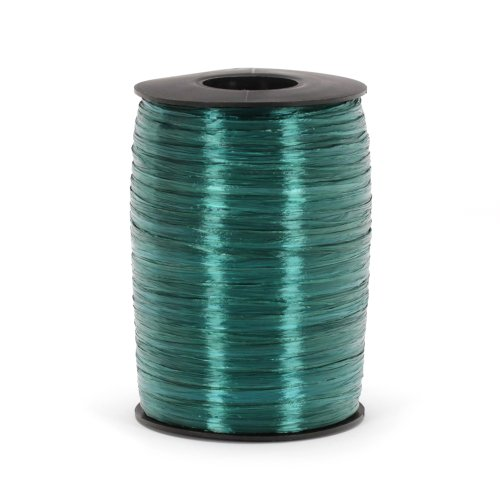 Berwick Offray Hunter Green Pearlized Raffia Ribbon, 1/4'' Wide, 500 - Pearlized Raffia Rayon Ribbon